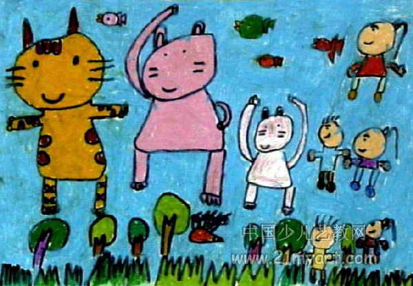 动物园里的晨炼儿童画