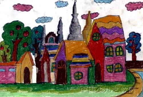 漂亮的房子儿童画4幅