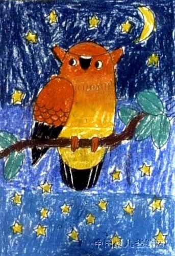 儿童画 石月博/猫头鹰儿童画,这幅油画棒画作品长500px,宽343px,作者石...