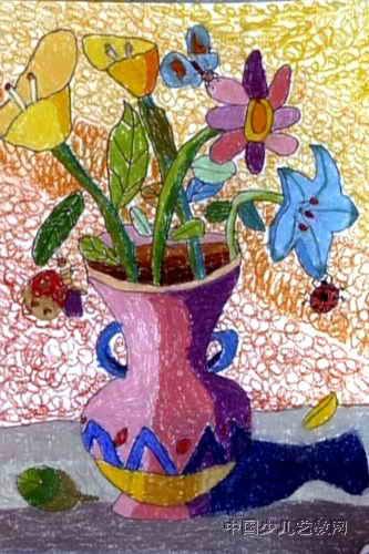 窗台上的漂亮花瓶儿童画图片