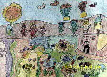 动物运动会儿童画属于油画棒画