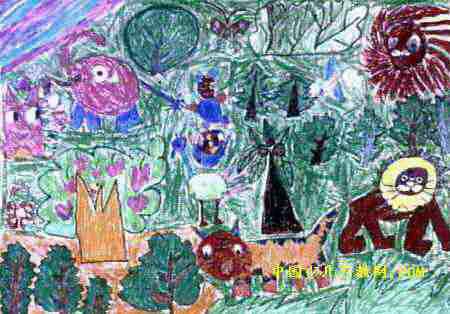 简笔画 儿童画 儿童油画棒画 >> 森林里儿童画2幅; 森林里儿童画2幅