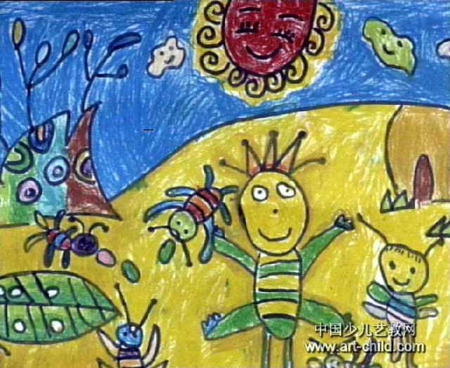 蚂蚁搬家儿童画属于油画棒画,长523px,宽640px,作者许航,男,未知岁,来自小龙潭发电厂幼儿园.