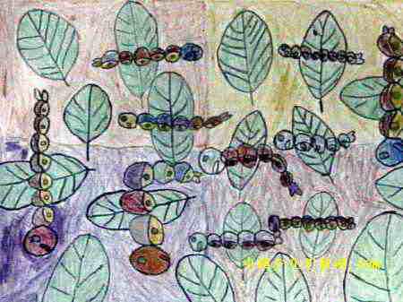 儿童画 李贤/我的蚕宝宝儿童画,此幅油画棒画尺寸为337x450像素,作者李贤...