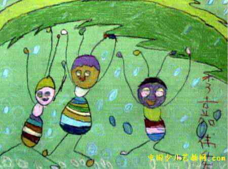 蚂蚁搬家儿童画,此幅油画棒画尺寸为334x450像素,作者李嘉维,男,5.1岁,来自四川省绵阳西南科技大学幼儿园.