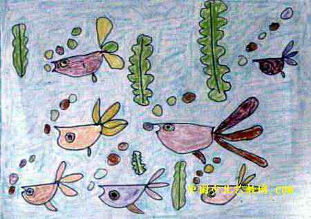 快乐的小鱼儿童画