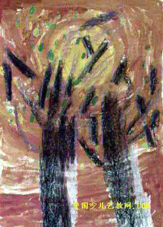美丽的树林儿童画属于油画棒画,作品长450px,宽323px,作者朱玥涵,女,6