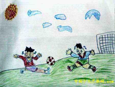 踢足球儿童画,此幅油画棒画尺寸为340x450像素