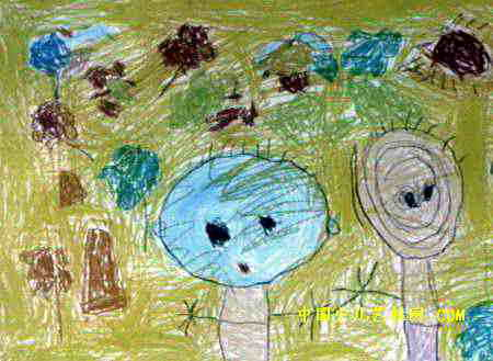 小花园儿童画2幅