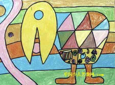 小鸟与食物儿童画属于油画棒画,长334px,宽450px,作者冯玉玺,女,9岁,就读成都市双流县华阳镇西寺中心小学.