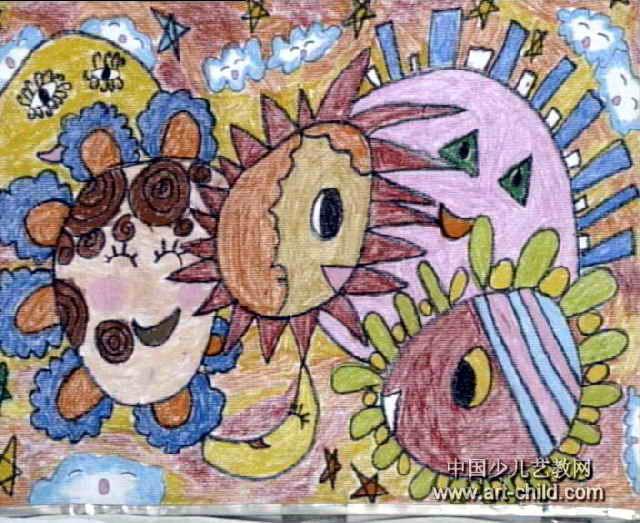 月亮儿童画属于油画棒画,长480px,宽640px,作者张振,来自淅川县幼儿园图片