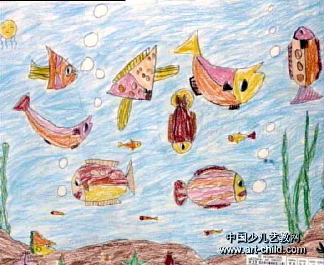 儿童画 林瑞华/海底世界儿童画属于油画棒画,作品长523px,宽640px,作者林...