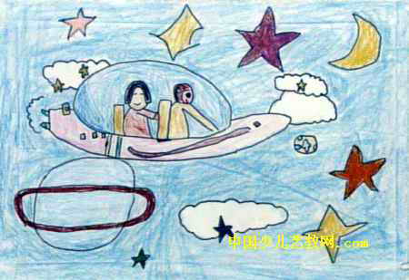 到太空旅行儿童画2幅图片