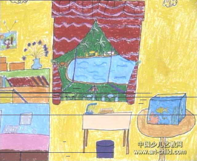儿童画 王宇/我的窗口儿童画属于水彩画,长523px,宽640px,作者王宇,女...