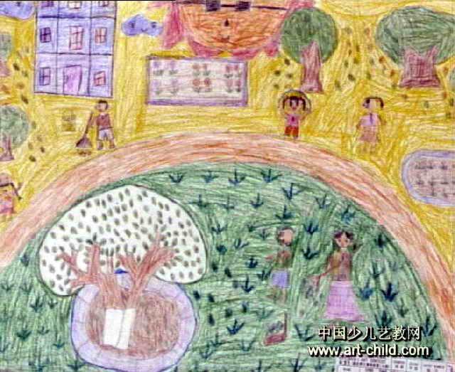 儿童画,此幅油画棒画尺寸为523x640像素,作者曾芳敏,来自海南铁路小学