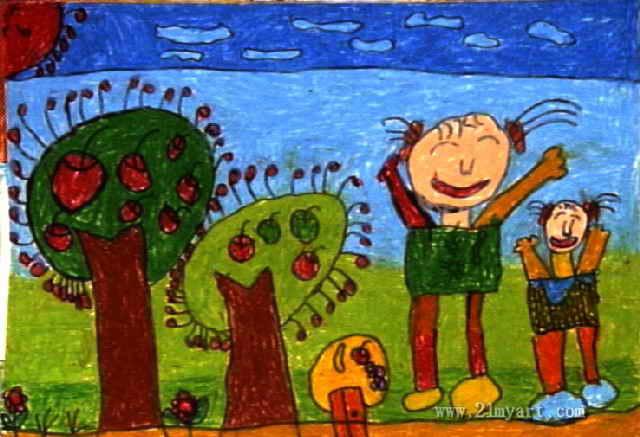 乐的森林儿童画4幅 第2张