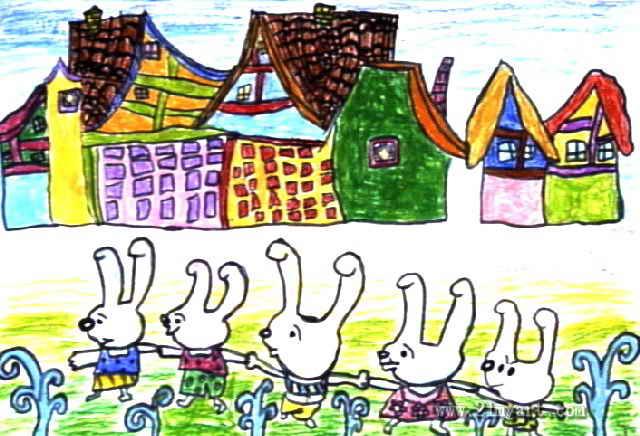 小兔一家的幸福生活儿童画