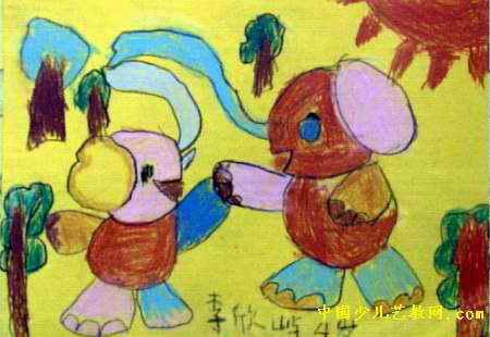 两只小象儿童画,这幅油画棒画作品长310px,宽450px,作者李欣屿,男,4.