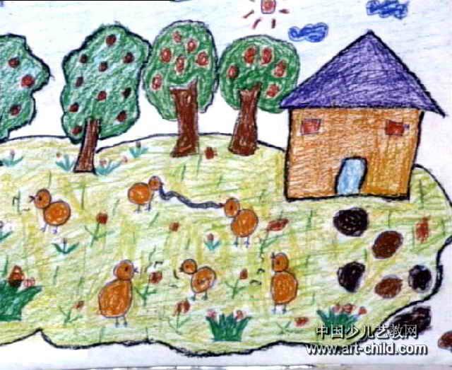 小鸡捉虫儿童画3幅