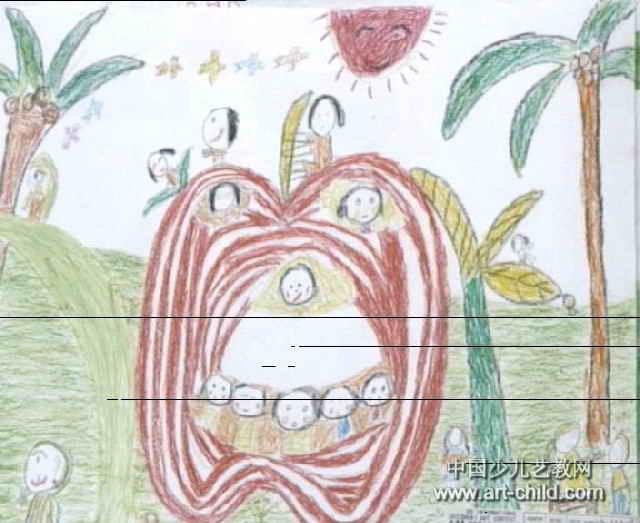 我想象的苹果屋儿童画作品欣赏