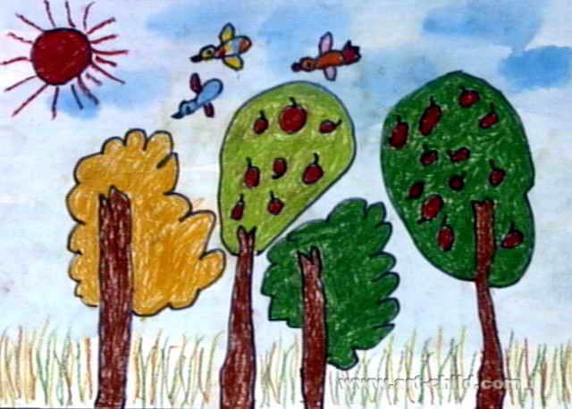 小树林儿童画,此幅油画棒画尺寸为458x640像素,作者赵振霖,来自南宁市
