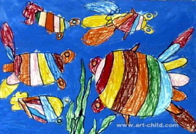 热带鱼儿童画,此幅油画棒画大小为437x640像素,作者周振霖,来自南宁市图片