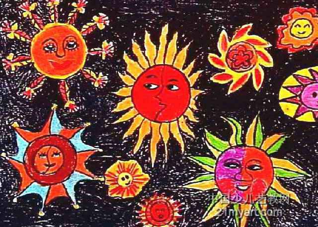 太阳比美儿童画2幅