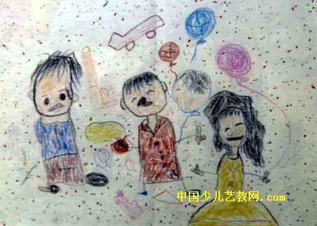 一家三口儿童画4幅 第2张
