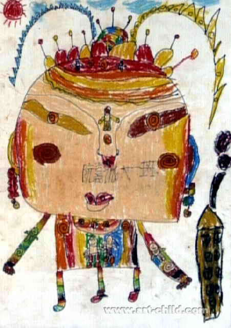面具人儿童画2幅