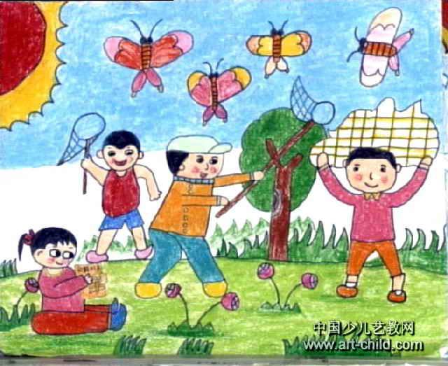 扑蝶儿童画2幅