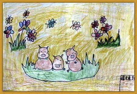 黄源 儿童画/儿童画 黄源/春天来了儿童画,此幅油画棒画大小为307x450像素,...