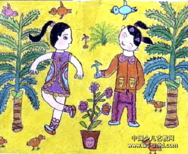 踢毽子儿童画3幅 第2张