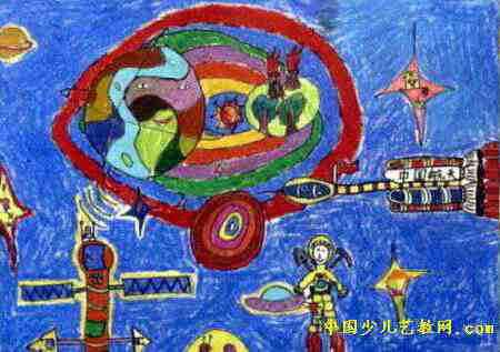 宇宙探秘儿童画