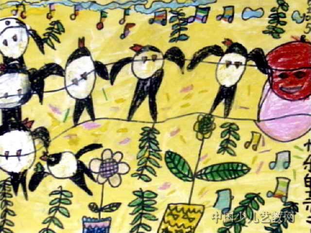 快乐的燕子儿童画5幅(第4张)