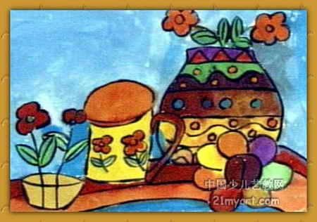杯课文调色盘儿童画小学花瓶枣图片
