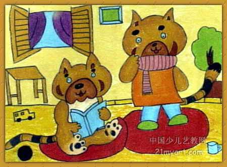 读书·思考儿童画,此幅油画棒画大小为330x450像素