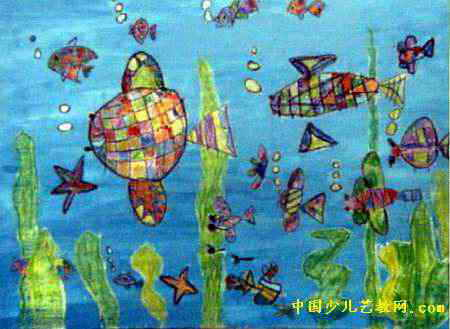 海底世界儿童画,此幅油画棒画尺寸为329x450像素