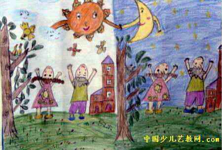 日与夜儿童画,这幅水彩画作品长304px
