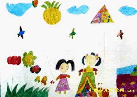 放风筝儿童画(十八)8幅(第2张)
