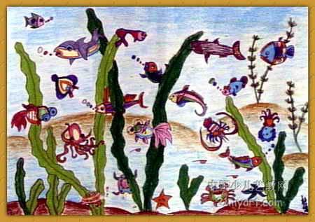 海底世界儿童画(十二)8幅(第3张)小学生常规v海底图片