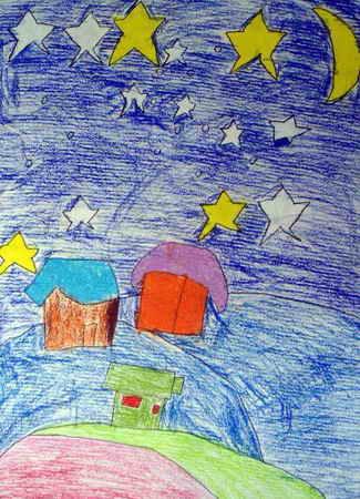 星空下儿童画