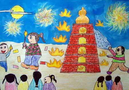 中秋节儿童画 中秋团圆图片