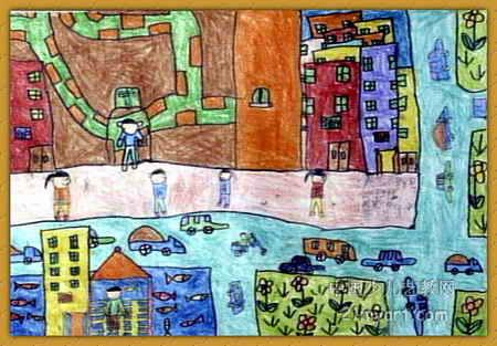 大班儿童画6幅什么样教案城市小学图片