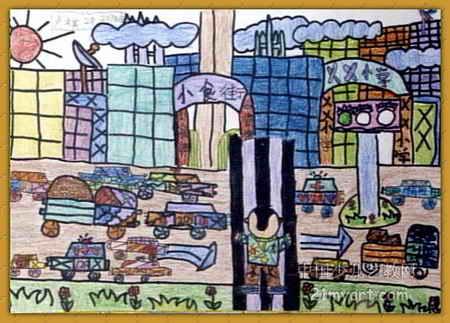 小学儿童画6幅城市型完六填空年级图片