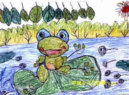 儿童画 陈奕丞/春天的池塘儿童画属于油画棒画,大小为333x450像素,作者陈...