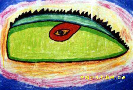 梦幻世界儿童画,此幅油画棒画尺寸为304x450像素,作者郑少辉,男,5岁