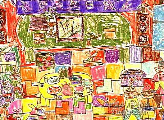 生日快乐儿童画,此幅油画棒画尺寸为469x640像素