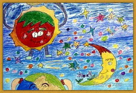太阳.月亮.地球儿童画