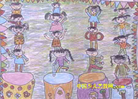 """""""六一""""儿童节真快乐儿童画属于油画棒画,作品长322px,宽450px,作者"""