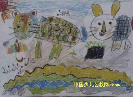 可爱的小动物儿童画属于油画棒画
